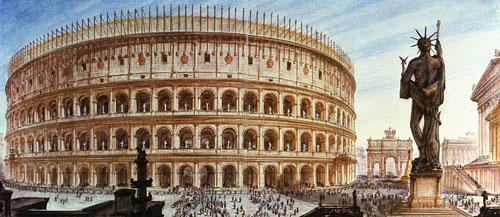 Vespasien (69-79) est proclamé empereur par ses troupes en décembre 69. Le colosse de Néron de plus de 30 mètres, en bronze, qui dépasse celui de Rhodes est transformé en dieu du soleil, Sol.