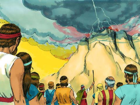 En voyant la montagne se couvrir d'une épaisse nuée, les éclairs, la montagne fumante, en entendant des coups de tonnerre et le son de la trompette, les Israélites prennent conscience de la présence de Dieu et de sa puissance incommensurable et ont peur.