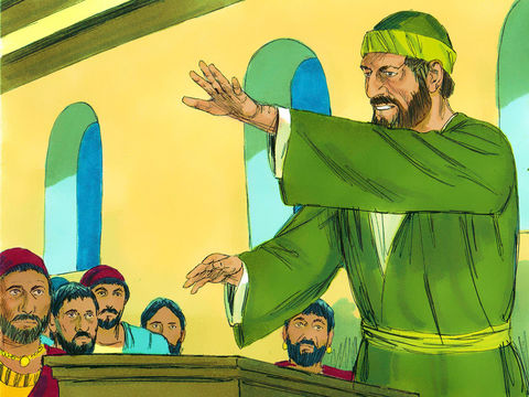 La veille de son départ, une réunion de chrétiens prolongée par un long discours de l'apôtre Paul jusqu'à minuit est perturbée par un accident. Un jeune homme nommé Eutychus s'endort profondément alors qu'il est assis sur le rebord de la fenêtre.