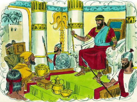 Salomon s'assit sur le trône de Jéhovah comme roi, à la place de David, son père; il prospéra, et tout Israël lui obéit. Les Rois régnaient au Nom de Jéhovah Dieu. Ils devaient lui être soumis.