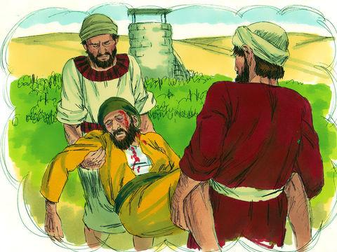 Le propriétaire de la vigne (Dieu) envoie à 3 reprises (symbole d'insistance) un serviteur afin de prendre sa part de récolte de la vigne (les bonnes œuvres). Ces serviteurs envoyés avec insistance auprès des Israélites figurent les prophètes de Dieu.
