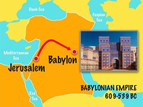 Nébucadnetsar emporte avec lui une partie des ustensiles sacrés du Temple de Jéhovah comme butin pour son dieu babylonien. Il emmène en captivité de nombreux nobles dont Daniel et ses trois compagnons, Hanania, Mishaël et Azaria (Daniel 1 :2-7).