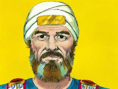 La tiare (espèce de bonnet rond) est faite en lin. Le diadème sacré, une lame en or pur, est attaché avec un cordon bleu sur le devant de la tiare. Il y est gravé : « Sainteté à Jéhovah ».