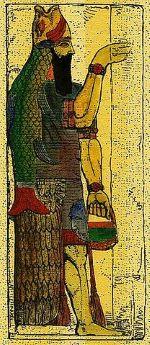 dieu Dagon. Ce dieu apparaît dans les tablettes d'Ebla dès 2500 av J-C. La Bible le donne comme la principale divinité des Philistins.