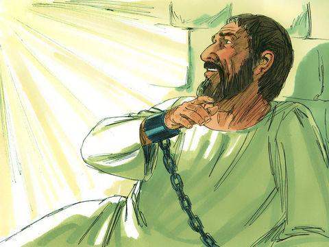 Lorsque le grand-prêtre et les sadducéens ont jeté en prison les apôtres, un ange est venu les libérer miraculeusement pendant la nuit ».