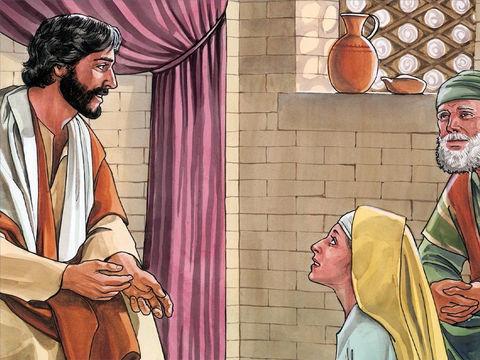 Marthe, la soeur de Marie, était aux pieds de Jésus pour écouter attentivement l'enseignement de Jésus-Christ.