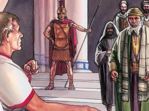C'était la préparation de la Pâque et ce sabbat allait être un jour solennel. Craignant que les corps ne restent en croix pendant le sabbat, les Juifs demandèrent à Pilate qu'on brise les jambes aux crucifiés et qu'on enlève les corps.