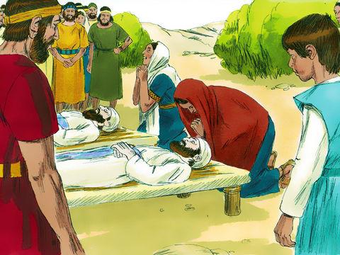 Mais après la bataille, la défaite d'Israël n'en est que plus grande. 30'000 fantassins israélites sont tués. L'arche de l'alliance est prise par les Philistins et les fils d'Eli, Hophni et Phinées, meurent.