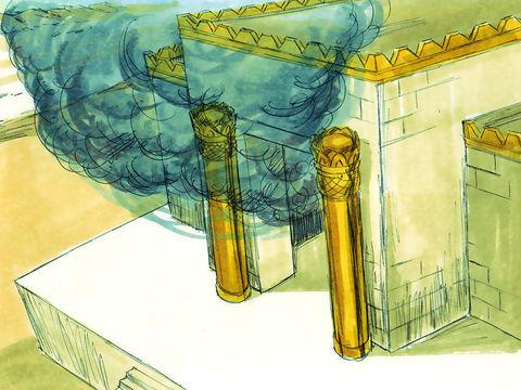 Les prêtres amènent l'arche de l'alliance dans le sanctuaire, le très-saint, sous les ailes des chérubins, et tous les Lévites musiciens  jouent de leur instrument cymbales, luths, harpes et trompettes, le temple se remplit d'une nuée de gloire de Jéhovah