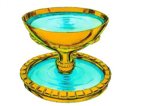 La cuve en bronze contient de l'eau et sert pour les ablutions. Aaron et ses descendants l'utilisent pour se laver les mains et les pieds . S'ils entraient dans le Tabernacle ou s'ils faisaient des sacrifices à Jéhovah sans se laver, ils en mourraient.
