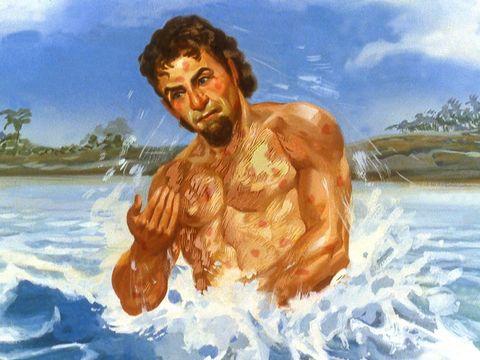 Naaman, chef de l'armée syrienne, se baigne dans le Jourdain comme l'a demandé Elisée. Il est atteint de la lèpre.
