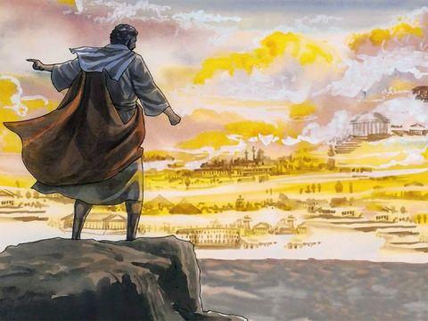 Satan emmène Jésus plus haut, sur une haute montagne. Cette position très élevée est propice pour lui montrer le pouvoir et la gloire de tous les royaumes ou puissances du monde (qu'il se propose de lui donner en échange d'un seul acte d'adoration).