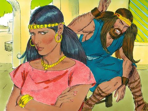 Samson a été tourmenté par Delila jusqu'à ce qu'il lui dévoile le secret de sa force.  « Comme elle était chaque jour à le harceler de paroles et à le pousser à bout, il perdit patience au point de désirer la mort. »