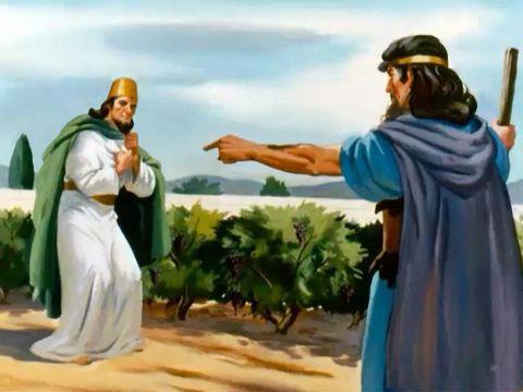 Après avoir entendu les paroles d'Elie, Achab déchira ses habits, se couvrit d'un sac à même la peau et jeûna. Il dormait avec ce sac et il marchait tout lentement.