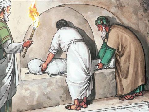 Joseph, un homme bon et juste, va trouver le gouverneur Pilate et lui demande le corps de Jésus. Il le descend alors de la croix, l'enveloppe dans un drap de lin et le dépose dans un tombeau taillé dans la roche qui n'avait encore jamais servi .