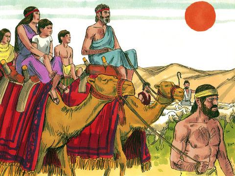 Jacob et sa famille quittent Laban pour retourner à Canaan, Rachel et Jospeh et Léa et tous les enfants