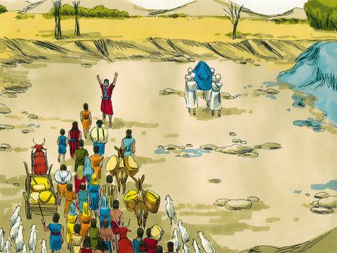 La traversée du Jourdain par Josué et le peuple d'Israël qui suit l'arche de l'alliance, symbole du pouvoir de Jéhovah Dieu.