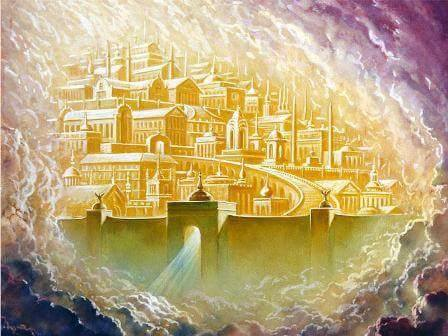 Jean voit la nouvelle Jérusalem descendre du ciel, cela signifie qu'il se trouve, lui, sur la terre.  La ville sainte descend d'auprès de Dieu qui lui a confié la mission de rétablir la justice sur la terre. Elle va régner avec son époux, Jésus-Christ.
