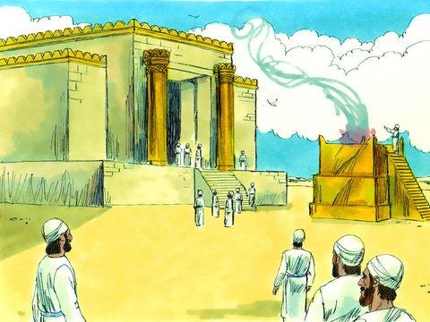 Après l'ordre de reconstruction donné par Darius Ier, les travaux progressent très rapidement et le temple est complètement reconstruit au mois d'Adar, la 6ème année de Darius Ier.