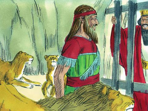 Le roi Darius doit appliquer le décret, selon les lois des Perses et des Mèdes et Daniel est jeté dans la fosse aux lions. Dieu protège Daniel, il ne lui arrive rien.