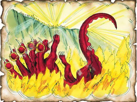 Le diable est jeté dans l'étang de feu et de soufre, symbole de destruction totale et définitive sans retour possible. L'étang de feu, c'est la seconde mort, celle d'où l'on ne revient pas. Satan le diable, le dragon, père du mensonge sera détruit.