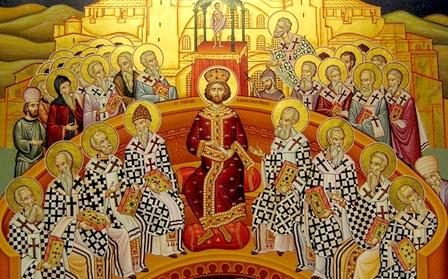 Afin de rétablir la paix religieuse qui divise les chrétiens sur l'origine du Christ, Constantin Ier (306-337) convoque le concile de Nicée (325), premier concile œcuménique réunissant 300 évêques. C'est le césaropapisme.