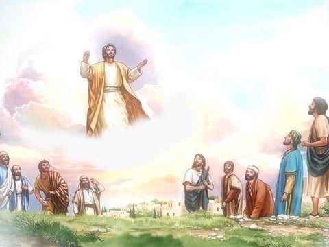 """Après la fin de la grande tribulation, les 2 Témoins remontent au ciel dans une nuée tout comme Jésus-Christ l'avait fait 40 jours après sa résurrection. La voix forte de Jésus dit aux 2 Témoins aux 2 Témoins : """" Montez jusqu'ici ! """"."""