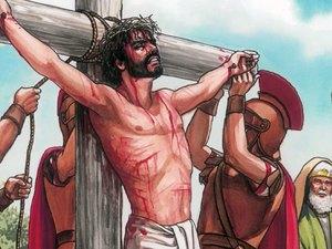 Jésus est crucifié par les Romains. La Foi dans son sacrifice rédempteur permet aux humains d'espérer obtenir la vie éternelle.