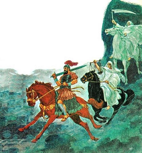 Les chevauchées des 3 derniers cavaliers de l'Apocalypse annoncent des calamités pour la terre. Le cheval rouge annonce des guerres, le cheval noir annonce la famine et le cheval blême ou verdâtre annonce la mort.