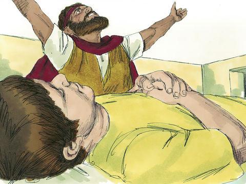Elie dit à la veuve de Sarepta : « Donne-moi ton fils » et monte l'enfant à l'étage puis il prie Jéhovah en disant : « Ô Jéhovah mon Dieu, fais-tu venir le malheur même sur cette veuve qui m'héberge, en faisant mourir son fils ? »