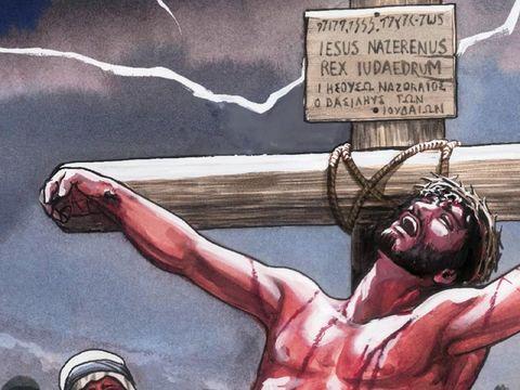 « Pour indiquer le motif de sa condamnation, on écrivit au-dessus de sa tête: «Celui-ci est Jésus, le roi des Juifs.» » Cette inscription était écrite en hébreu, en latin et en grec.