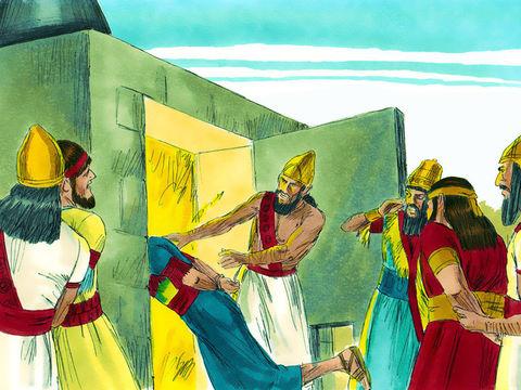 Nébucadnetsar se remplit de colère et ordonne de chauffer la fournaise 7 fois plus que d'habitude puis ordonne à quelques soldats d'attacher les 3 Hébreux et de les jeter dans la fournaise. La fournaise est si ardente que la flamme tue les soldats.