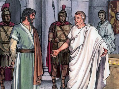 """« Pilate l'interrogea: """" Es-tu le roi des Juifs?"""" Jésus lui répondit: """" Tu le dis."""" » Jésus est appelé le Roi des Juifs."""