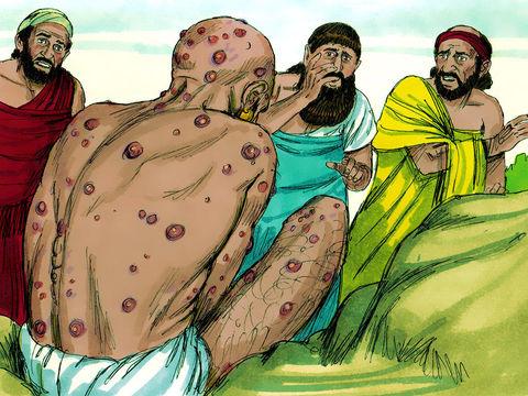 3 amis de Job, le reconnaissent à peine tant sa souffrance est grande. Ils pleurent, déchirent leurs manteaux et jettent de la poussière au-dessus de leur tête. Ils partagent pendant 7 jours, un silence chargé d'émotion et de compassion.
