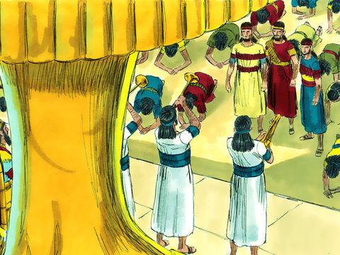 Les fidèles Hébreux refusent de se prosterner devant la statue dressée par Nébucadnetsar et quelques Babyloniens en profitent pour les dénoncer. Les 3 Hébreux expliquent au roi qu'ils ne serviront pas ses dieux et qu'ils ne se prosterneront pas devant eux