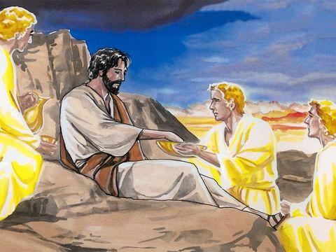 Jésus lui dit alors: « Retire-toi, Satan! En effet, il est écrit: C'est le Seigneur, ton Dieu, que tu adoreras et c'est lui seul que tu serviras.» Alors le diable le laissa. Et voici que des anges s'approchèrent de Jésus et le servirent. »