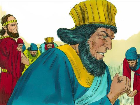 Haman repart joyeux, mais en voyant Mardochée qui ne tremble toujours pas devant lui, il se remplit de colère.