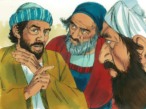 Les hommes irrités soudoient des faux témoins pour colporter de fausses accusations : «Nous l'avons entendu proférer des paroles blasphématoires envers Moïse et envers Dieu.». Ils se jettent sur Etienne et l'amènent au sanhédrin.