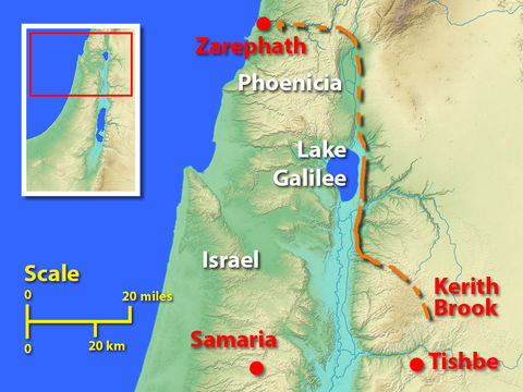 Alors que la sècheresse accable le pays d'Israël à cause de son idolâtrie, le prophète Elie est accueilli chez une veuve de la ville de Sarepta.