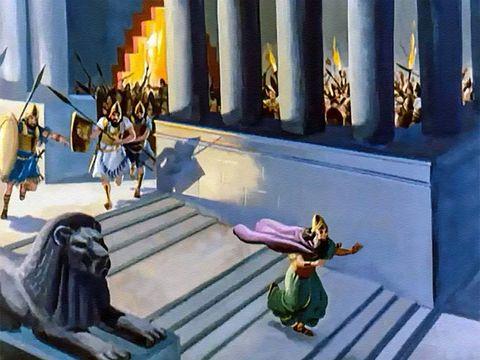 La même nuit, le 12 octobre 539 av J-C, le roi Belshatsar est tué (par Gobryas et Gadatas) et son royaume est donné aux Mèdes et aux Perses. Voici l'écriture qui a été tracée: MENÉ, MENÉ, THEKEL, UPHARSIN (Compté, compté; pesé et divisé). PERES: ton royau