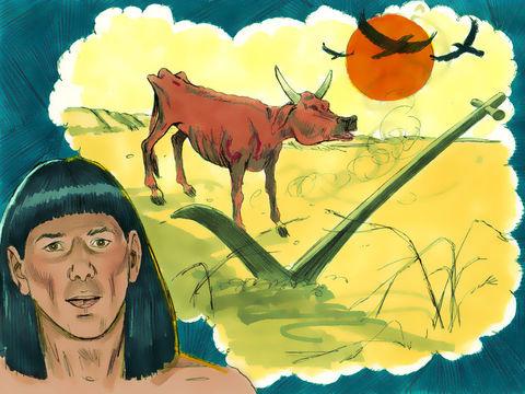 Le pharaon d'Egypte vient de recevoir une vision de Dieu avec 7 vaches grasses et 7 vaches maigres. Cette vision symbolise 7 années d'abondance suivies de 7 années de famine.