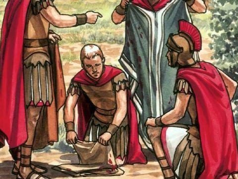 Les Romains tirent au sort les vêtements de Jésus. L'image de Pilate se lavant les mains est restée dans les mémoires. Elle a même donné naissance à une expression: « Je m'en lave les mains ».