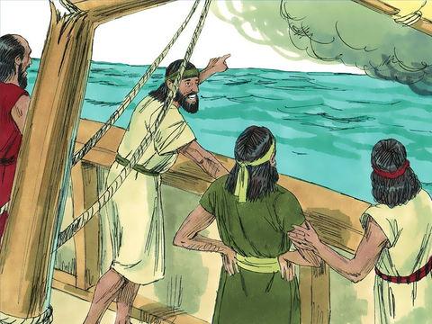 Mais Yahvé déchaîna sur la mer un grand vent et la tempête était si violente que le bateau menaçait de se briser. Après avoir jeté Jonas par dessus bord, le vent tombe, la mer se calme, le bateau est sauvé.
