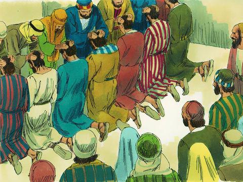 7 frères remplis d'esprit saint et de sagesse sont choisis pour la distribution de la nourriture aux chrétiens nécessiteux. Ces 7 frères ont une conduite exemplaire au sein de l'église. Ils les présentèrent aux apôtres et ils posèrent les mains sur eux.