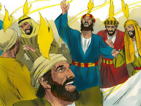 L'esprit saint est directement associé à la puissance de Dieu. Il apparait ainsi comme l'énergie ou force active qui émane du Tout-Puissant. Ils furent tous remplis du Saint-Esprit et se mirent à parler en d'autres langues selon ce que l'Esprit les pousse