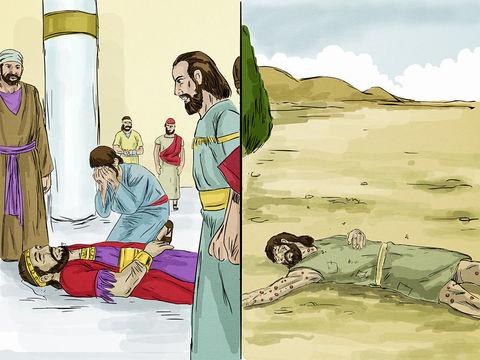 Le pauvre meurt, il est alors porté par les anges auprès d'Abraham. Le riche meurt aussi et il est enterré. Dans le séjour des morts (enfer, Hadès), alors qu'il souffre terriblement, il lève les yeux et voit Abraham, avec Lazare à ses côtés.