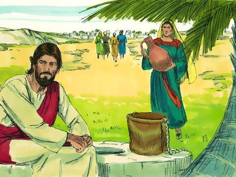 Jésus avait parlé d'une source d'eau qui donne la vie éternelle lors d'une discussion avec une Samaritaine venue puiser de l'eau. Il lui révèle qu'il est le Messie attendu et que l'eau qu'il propose étanchera à jamais la soif.