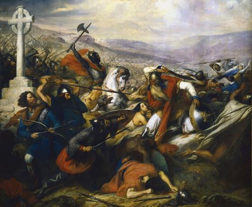 Charles Martel qui réussit à stopper l'invasion arabe à Poitiers en 732. C'est lui qui sera à l'origine de la nouvelle dynastie des rois francs, les Carolingiens. (d'où sera issu Charlemagne prophétisé dans le livre de Daniel)