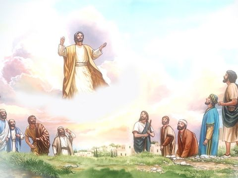Ascension de Jésus devant les disciples, il monte dans une nuée