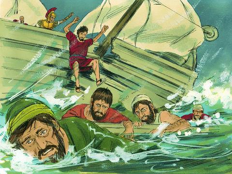Tous les passagers du bateau dans lequel l'apôtre Paul voyage entre Jérusalem et Rome sont sauvés, même les prisonniers. Ils sont au nombre de 276 passagers.
